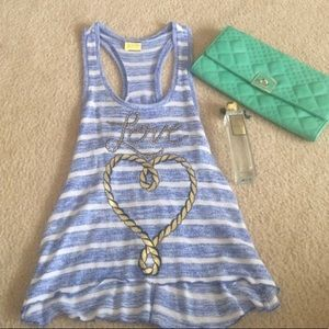 Love blue and white striped tank